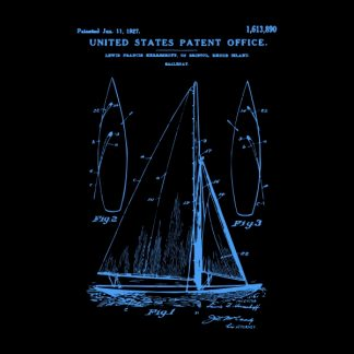 sail boat patent - blue heat transfer on a black background