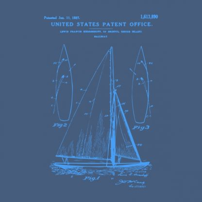 sail boat patent - blue heat transfer on a denim background
