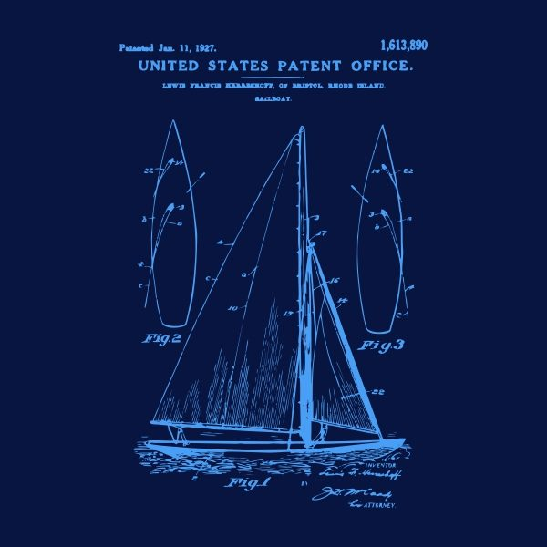 sail boat patent - blue heat transfer on a navy background