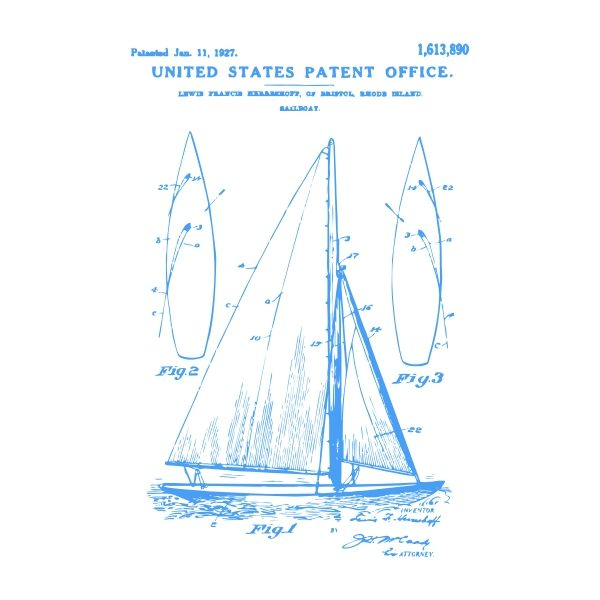 sail boat patent - blue heat transfer on a white background