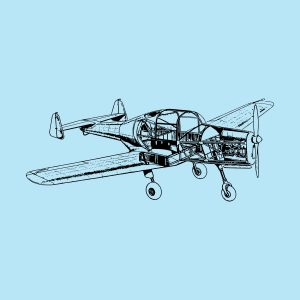 single-engine airplane - black heat transfer on a blue background