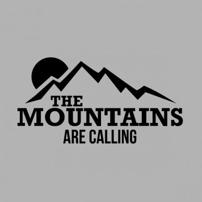 the mountains are calling black heat transfer on a grey t-shirt