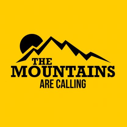 the mountains are calling black heat transfer on a yellow t-shirt
