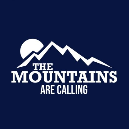 the mountains are calling white heat transfer on a navy t-shirt