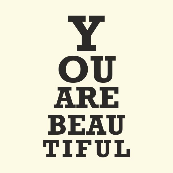 you are beautiful - black heat transfer on a yellow background