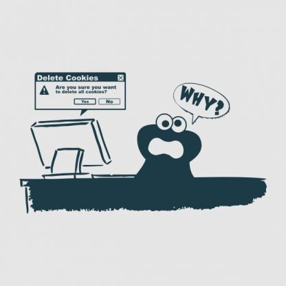 Delete Cookies- Are you sure do you want to delete all cookies heat transfer on a grey tshirt