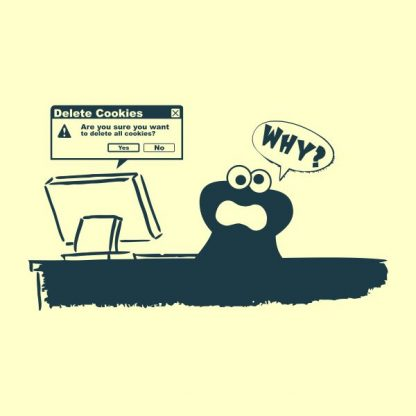 Delete Cookies- Are you sure do you want to delete all cookies heat transfer on a yellow tshirt