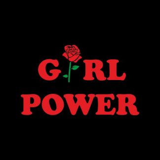 Girl power heat transfer on a black tshirt