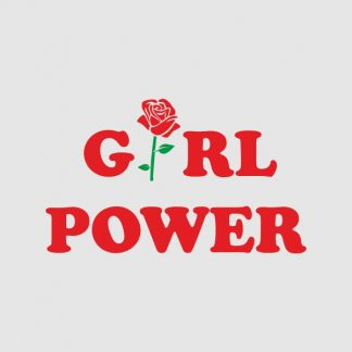 Girl power heat transfer on a grey tshirt