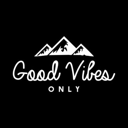 Good vibes only heat transfer on a black tshirt