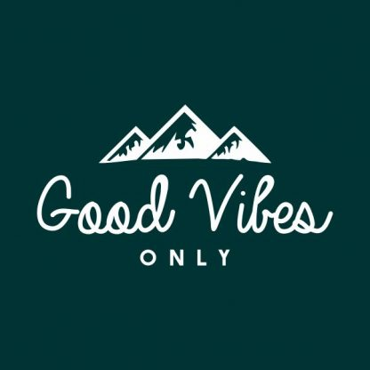 Good vibes only heat transfer on a dark green tshirt