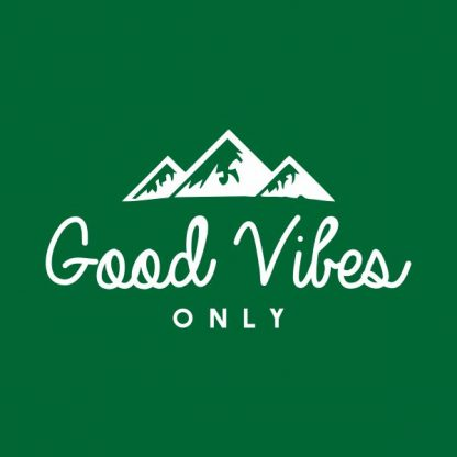 Good vibes only heat transfer on a green tshirt
