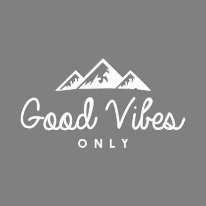 Good vibes only heat transfer on a grey tshirt