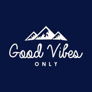 Good vibes only heat transfer on a navy tshirt