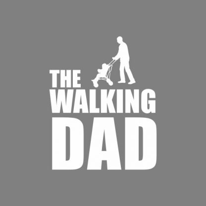 The walking dad heat transfer on a grey tshirt
