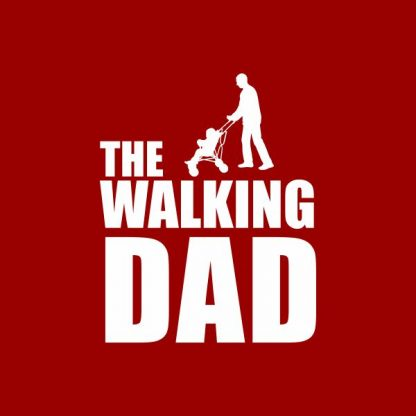 The walking dad heat transfer on a red tshirt