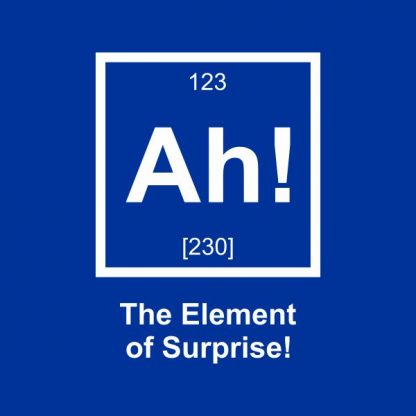 ah! the element of surprise heat transfer on a royal blue tshirt