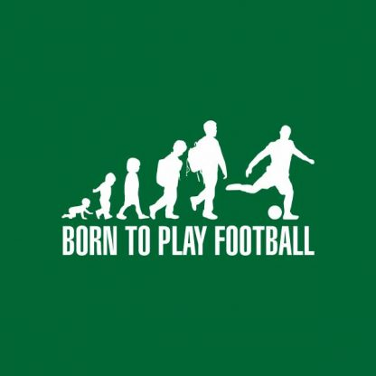 born to play football heat transfer on a green t-shirt