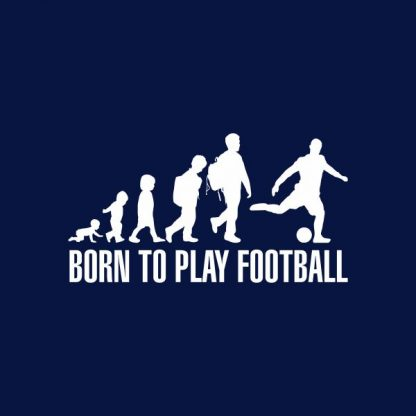 born to play football heat transfer on a navy t-shirt