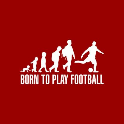 born to play football heat transfer on a red t-shirt