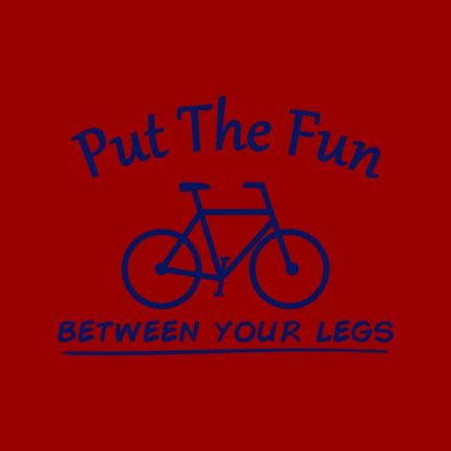 put the fun between your legs heat transfer on a red tshirt