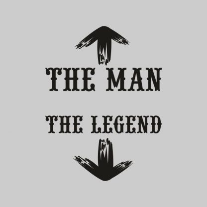 the man the legend black heat transfer on a grey tshirt