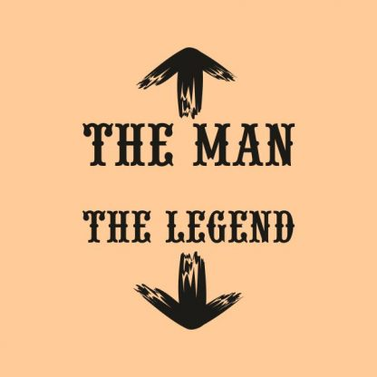 the man the legend black heat transfer on a natural tshirt