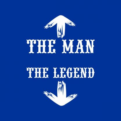 the man the legend white heat transfer on a royal blue tshirt
