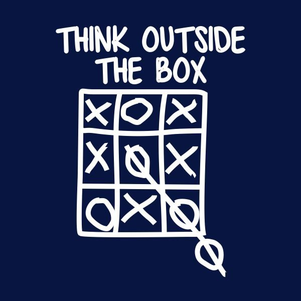 think outside the box heat transfer on a navy tshirt
