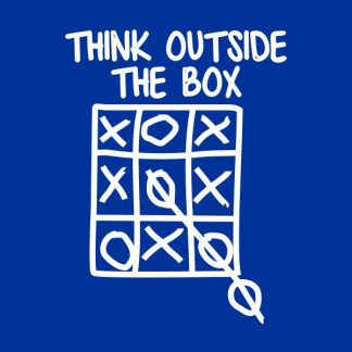 think outside the box heat transfer on a royal blue tshirt