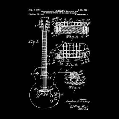 guitar patente heat transfer on a black t-shirt