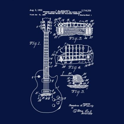 guitar patente heat transfer on a navy blue t-shirt