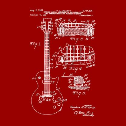 guitar patente heat transfer on a red t-shirt