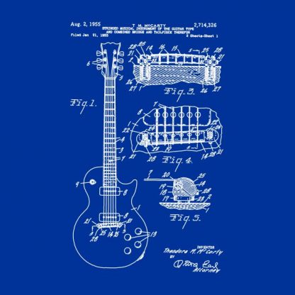 guitar patente heat transfer on a royal blue t-shirt