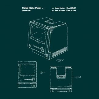 macintosh patent heat transfer on a dark green t-shirt
