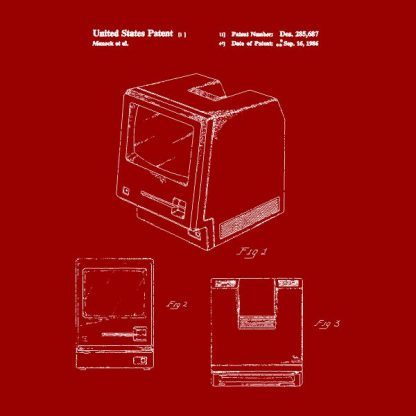 macintosh patent heat transfer on a red t-shirt