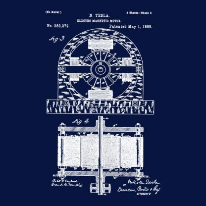 tesla patente heat transfer on a navy tshirt