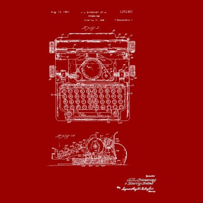 typewriter patent heat transfer on a red tshirt