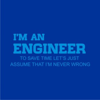 I'm an engineer heat transfer on a royal blue tshirt