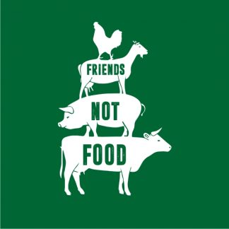 friends not food heat transfer on a bottle green tshirt