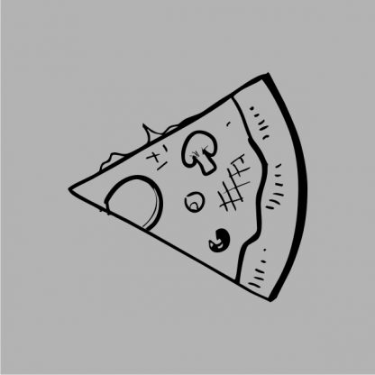 slice of pizza heat transfer on a grey tshirt