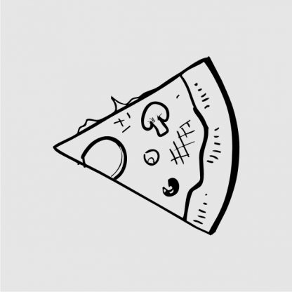 slice of pizza heat transfer on a light grey tshirt