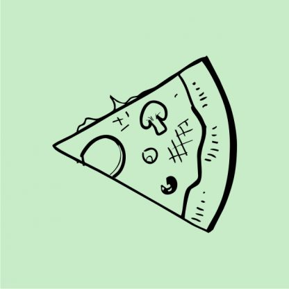 slice of pizza heat transfer on a mint green tshirt