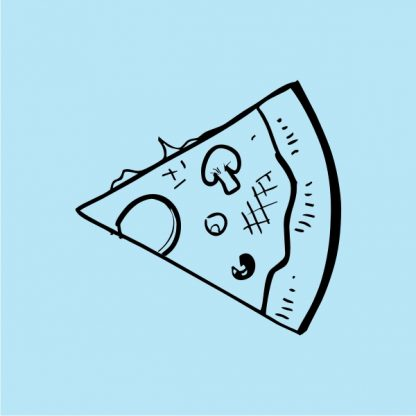 slice of pizza heat transfer on a sky blue tshirt